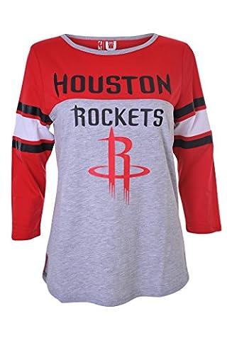 NBA Women's Houston Rockets Assist Raglan Baseball 3/4 Long Sleeve T-Shirt Top, Small, Red - Long Sleeve Raglan Baseball