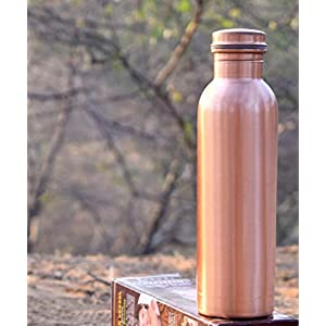 KSJ Copper Bottle for Water 1 Liter Dirt Proof Leak Proof and Joint Less Ayurveda and Yoga Health Benefits Water Bottle…