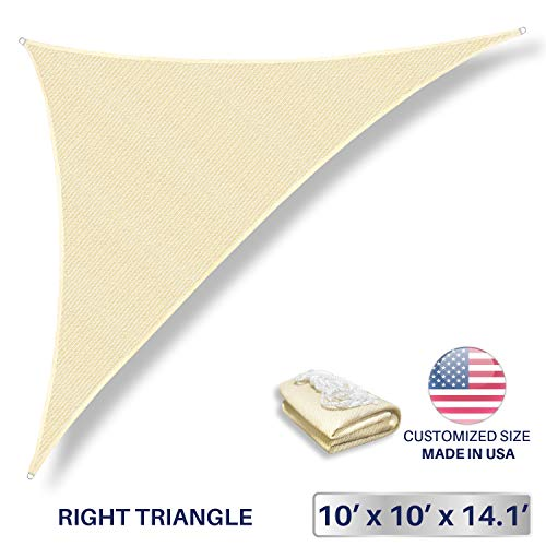 Windscreen4less 10 x 10 x 14.1 Sun Shade Sail Triangle Canopy in Beige with Commercial Grade 3 Year Warranty Customized