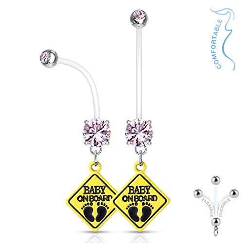 Amelia Fashion 14 Gauge Double Jeweled with Baby on Board Sign Dangle Bioflex Pregnancy Navel Ring 316L Surgical Steel Balls (Choose Color) (Pink)