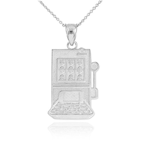 (Solid 925 Sterling Silver Casino Slot Machine Pendant Necklace, 18