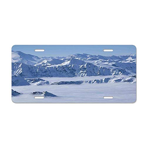 Farmhouse Decor,Fantasy Dream Land over Austrian Alps Summit Climate Skiing Snowfall Fir Theme,White Personalized License Plate Cover Aluminum Metal Auto Car Tag Sign 12 x 6 In 4 Holes ()