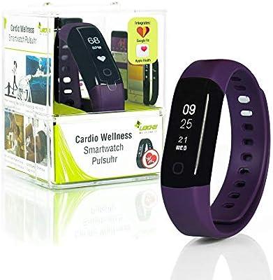 Wellsmart Cardio Ads Smartwatch Fitness Pulsera Tracker Bluetooth Podómetro Monitor de Ritmo Cardíaco Monitor de Sueño Resistente al Agua 30m App en ...