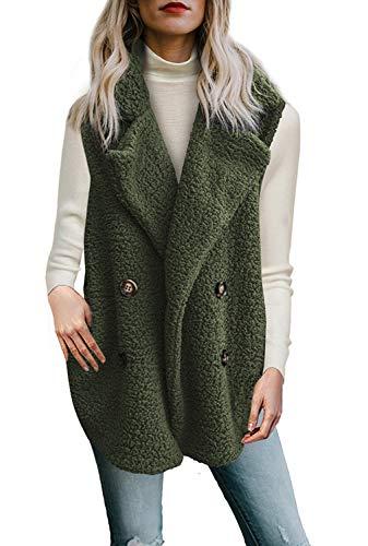 Womens Vest Jacket - Dokotoo Womens Elegant Oversized Loose Winter Fluffy Sleeveless Fluffy Warm Open Front Waistcoat Vest with Pockets Coat Outerwear Jackets Green XX-Large