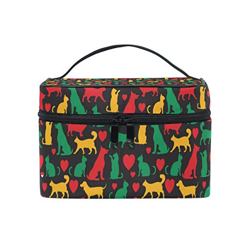 Makeup Bag Cats And Dogs Colored Cosmetic Case Portable Carry Travel Toiletry Bag Toiletry Bags for Womens Storage Bag for $<!--$21.99-->