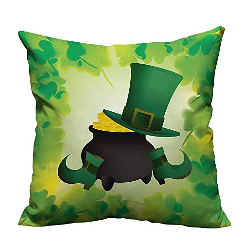 YouXianHome Household Pillowcase Leprechaun Hat and Sho Costume Pot Gold Shamrock Leav Green Perfect for Travel(Double-Sided Printing) 17.5x17.5 -