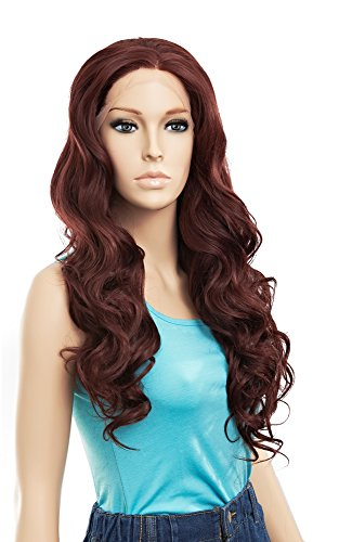 [SETPRETTYXG Dark Auburn Synthetic Lace Front Wigs Long Wavy Freestyle Women Party Wigs Heat Resistant] (Womens Axl Rose Costume)