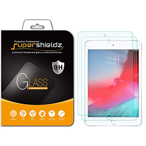 [2-Pack] Supershieldz for Apple iPad Mini 5 (2019) / iPad Mini 4 Tempered Glass Screen Protector, Anti-Scratch, Bubble Free, Lifetime - Protector Screen Apple Mini Ipad