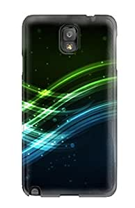 High-quality Durable Protection Case For Galaxy Note 3(green And Blue Waves)