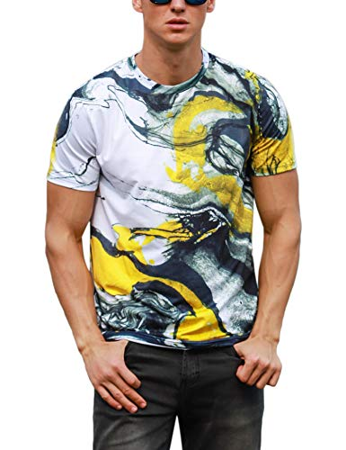 Sykooria Mens Tee Shirts 3D Printed Animal Funny Yellow White Smoke Pattern Beach Holiday Tees -