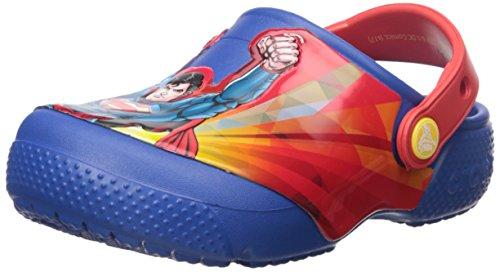 Shoe Front Croc (Crocs Kids' Crocsfunlab Superman Clog, Blue Jean, 10 M US Toddler)