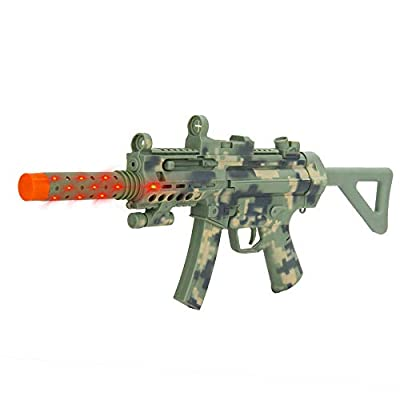 Kid's Swat Team Member Role-Playing Play-Set with Gear and Realistic SMG Toy Machine Gun Rifle with Scope, Flashing Lights and Sounds Activity Pretend Play Toy Set: Toys & Games