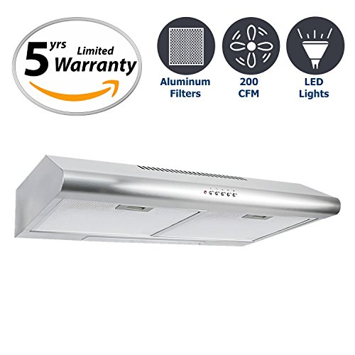 Cosmo 30 in. 200 CFM Ducted Under Cabinet Stainless Steel Range Hood with Push Button Control Panel, Kitchen Vent Hood Exhaust Fan with Aluminum Filters and LED Lighting - 200 Cfm Range Hood