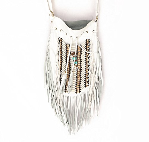 Bags Purse White Round L Leather Real Bag Boho Fringe Bohemian xzYwqS8x7H