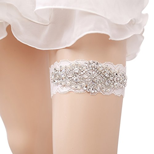 Bridal Ivory Floral Wedding Lace Retro Garters for Bride (J053) ()