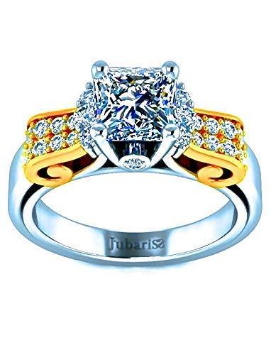 Cut Diamond Ring Bow Cushion (1.42 Tcw Classic Two-Tone Diamond Engagement Ring Princess Cut Custom Under Halo Ribbon Bow Shank Bezel 14K White & Yellow Gold Fine Jewelry)