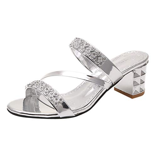 (Women's Ladies Summer Crystal Square Heel Beach Sandals Roman Shoes Slippers Summer Beach Travel Shoes Fashion Sandals Shoes Women's Open Toe Ankle Strap Sandal Silver)