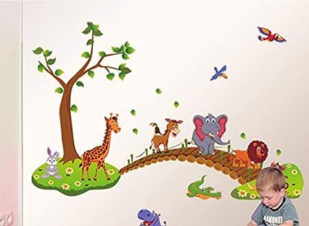 Kibi Pagatinas Animales Adhesivos Pared Decorativos Animales Árbol De Puente De Madera Etiqueta De La Pared Infantil Extraíble, Pegatinas De Pared Stickers Infantiles Animales Dormitorio Niños Bebe