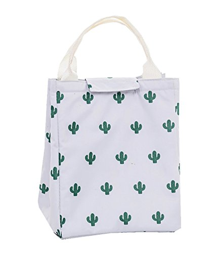 Songsongstore Reuseable Printing Lunch Bags, Arricastle Oxford Cloth Aluminum Foil Cooler Bag Portable Takeaway Aluminum Film Pack Cooler Bag Women, Students Bento Cooler Bag Travel Picnic(Cactus)