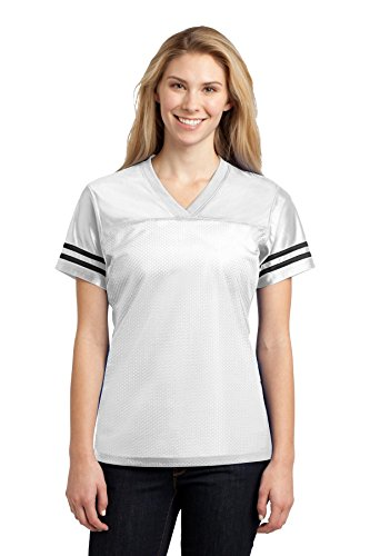 Sport-Tek Ladies PosiCharge Replica Jersey, Large, White/ Blk