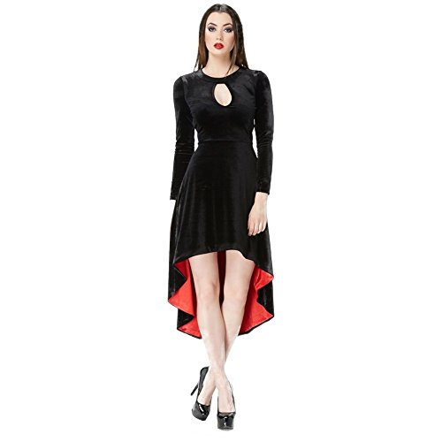 Buy black and red velvet dress - 1