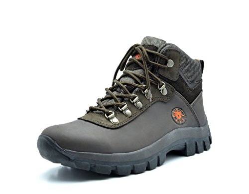 KINGSHOW Mens Water Resistance Rubber Sole Work Boots 7, 1551Brown