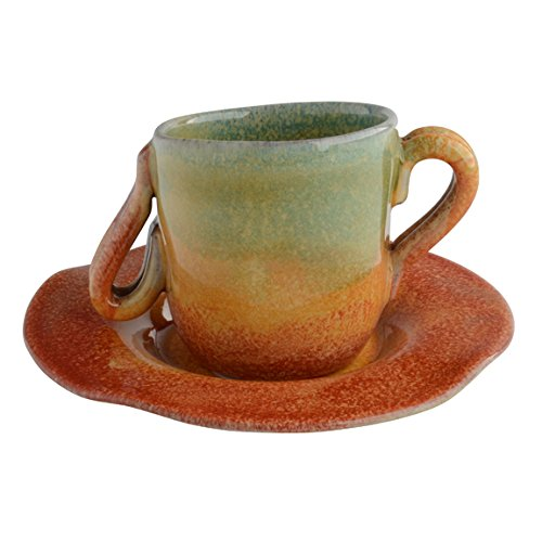 Modigliani Italian Dinnerware - Undecorated Espresso Cup and Saucer Set Two Handled Cup with Slanted Rim - Handmade in Italy from Our Sogno Toscano Collection