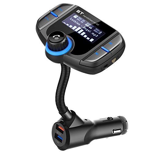 Bluetooth FM Transmitter – J-DEAL Universal Wireless Radio Transmitter Car Kit with Dual-USB Smart Charger, Hands-Free Calling, TF Card MP3 Player, Large Screen Display, Flexible Gooseneck In-Car FM A