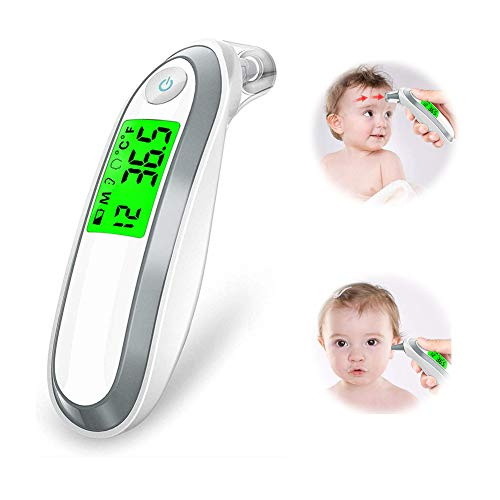 Dual Forehead&Ear Function Thermometer - for Baby, Children and Adults - Professional Precision Digital Infrared Thermometer for Fever with Fever Alarm and 1 Sec Measurement ()