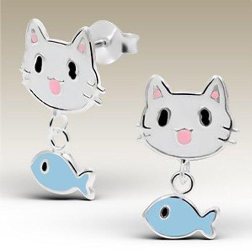 Amazon.com: Cat arete con colgante en forma de pez Stering ...
