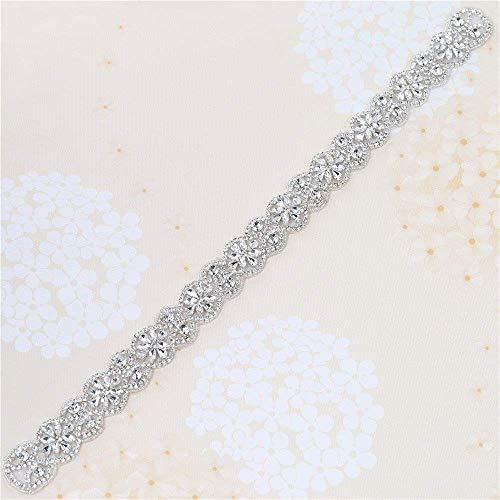 Wedding Belt Applique Rhinestones Bridal Trim Handmade Hot Fix for DIY Wedding Dresses Belts and Sashes - Silver (Wedding Gown Belt)