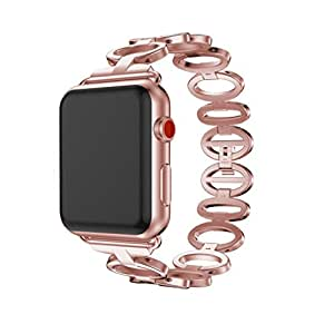 YRD TECH Apple Watch, Replacement Stainless Steel Bracelet Band Strap For Apple Watch Series 3 42mm (Rose Gold)