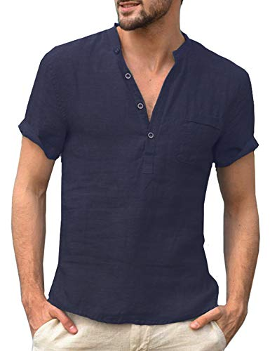 (Daupanzees Mens Short Sleeve Beach Shirts Linen Button Down Fishing Tee Band Collar Plain Summer Shirts Navy Blue)