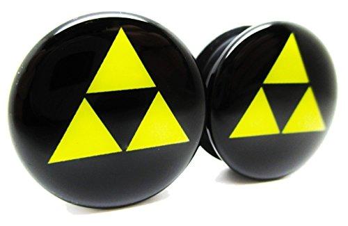 Zelda Triforce - Classic Ear Plugs - Acrylic - Screw on - NEWPair (0 Gauge (8mm)) (Triforce Piercing)