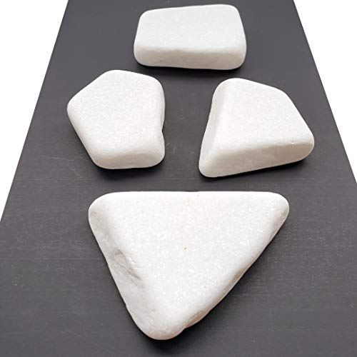 Capcouriers Flat White Painting Rocks - Rocks for Painting - Santorini Stones - 5 Painting Rocks (About 2-3.25 inches in Length)