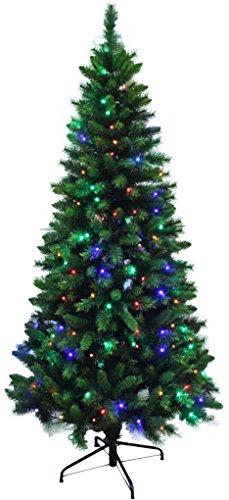 Pre-lit Dual Color LED Lights Slim Shape Artificial Pine Christmas Tree (6ft)