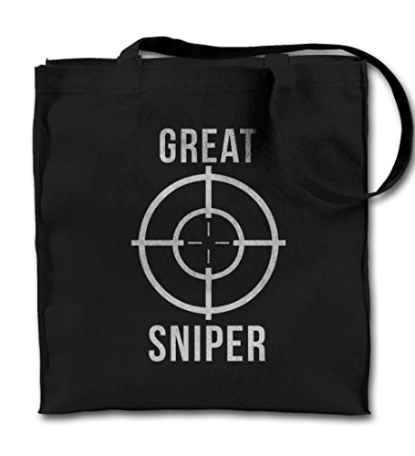Great Sniper Gamer Target Cool Motivational Funny Black Canvas Tote Bag, Cloth Shopping Shoulder Bag (Target Beach Bag)