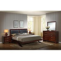 Roundhill Furniture Emily 111 Wood Arch-Leg Bed Group with King Bed, Dresser, Mirror and 2 Night Stands, Merlot