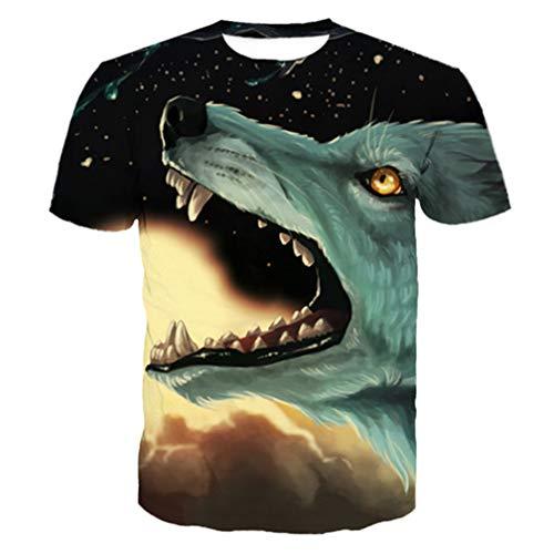 - Midnight Roaring Fire Wolf Print Cool Men's Short Sleeve T-Shirt Fashion Tops 4XL