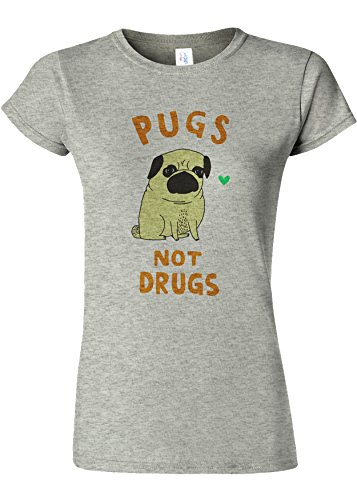外科医振る舞う架空のPugs Not Drugs High Weed Novelty Sports Grey Women T Shirt Top-XXL