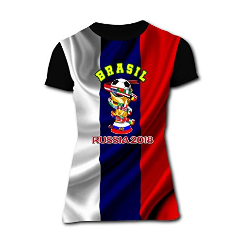 Women's T Shirts Brasil Russia 2018 World Cup 3D Short Sleeve Tees L