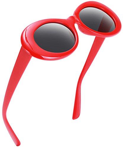 e995b6d8ad47f Retro Oval Mod Thick Frame Clout Goggles Kurt Cobain Sunglasses ...
