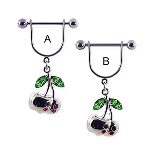 MsPiercing Nipple Ring With Dangling Cherries With Gems, Red - B