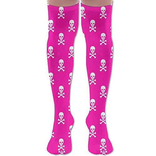 (Pink Skull Unisex Knee High Long Socks Stockings Dress Athletic Socks Elasticity)