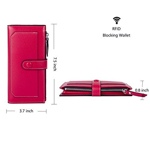 Baellerry Women Soft Leather Long Wallet Large Capacity Cluth Ladies Purse Card Holder (red) by Baellerry (Image #1)