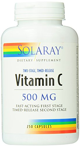 Stage Vitamins - Solaray C Two Stage Timed Release with Rose Hips and Acerola Supplement, 500mg, 250 Count