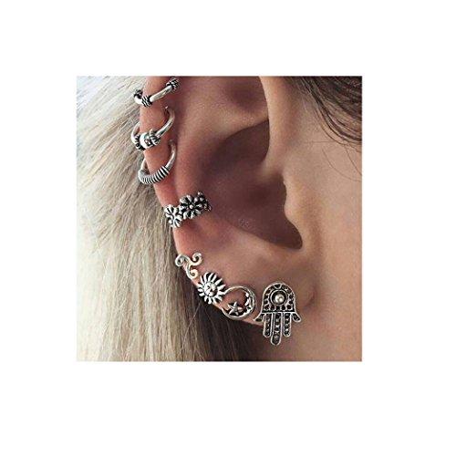 Sun Disc Earring (Monily Bohemian 7 PCS Stud Earrings Sets Retro Carved Sun Moon Flower Palm Jewellery)