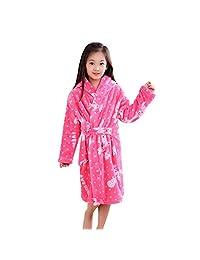 AME Bathrobes for Kids Boys and Girls Soft Velvet Cute Spa Party Kimono Robe
