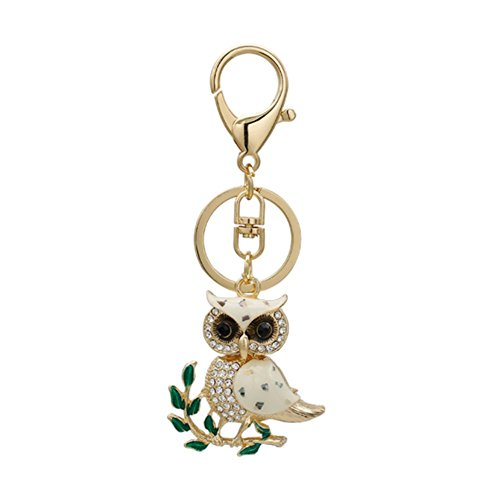 Fashion Metal Imitation Diamond Animal Handbag Backpack Wallet Key Chain Car Key Ring Gift Sets for Girls Women (Owl)