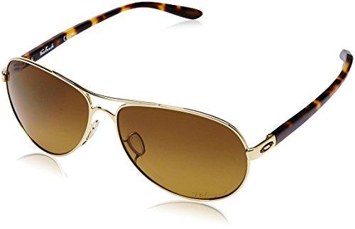 Oakley Women's OO4079 Feedback Aviator Metal Sunglasses, Polished Gold/Brown Gradient Polarized, 59 mm (Oakley Uv Protection Sunglasses)